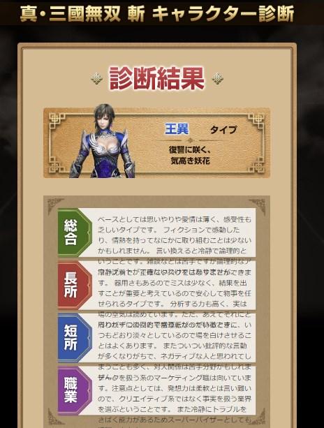真・三國無双 斬 キャラクター診断