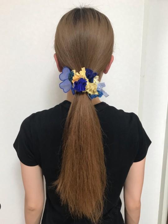 ワックスを塗る前のまとめ髪